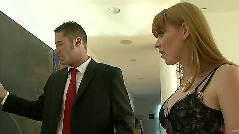 Brunette Marie McCray sucking man in suits cock