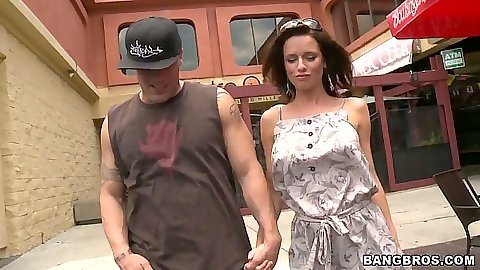 Outdoor with milf Veronica Avluv going to backseat of car in public for sex