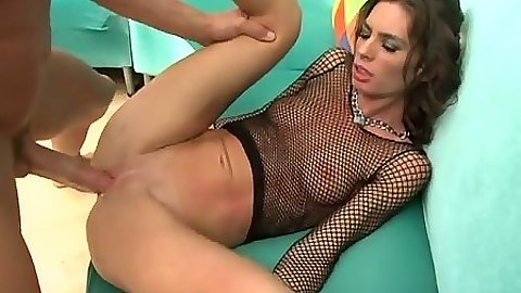 Shaved pussy Naomi with anal and rough sex