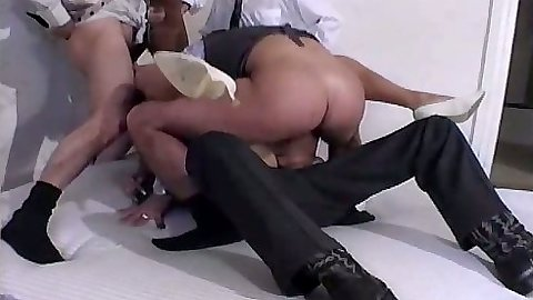 Half dressed group sex with Rita and close up sideways anal fuck