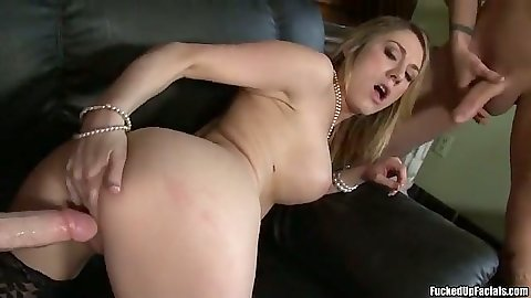 Amber Ashlee putting cock in her pussy in doggy style and group big dick sucking