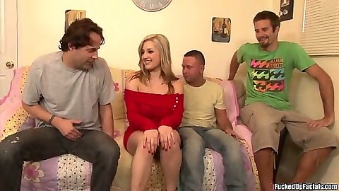 Dayna Vendetta in a group sucking two cocks at once with huge tits