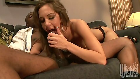 Interracial blowjob with Kiera King sitting on cock reverse cowgirl fuck