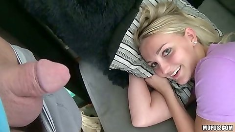 Teen video with Ashton Anderson pov blowjob and sex on the sofa