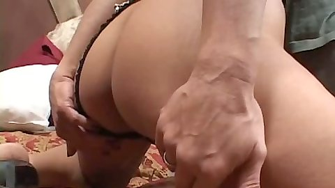 Round ass chick pulls panties aside and blind fold sex with ass fingering
