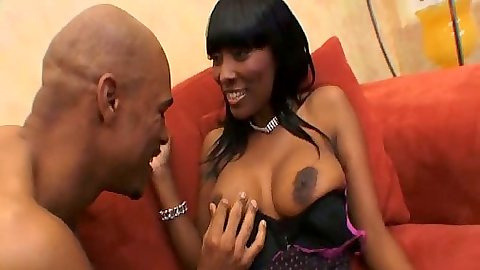 Big tits ebony milf Parke Allen sucking large black dick