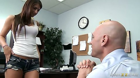 Teen Karina White athte office going down on man in suit behind desk