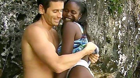 Ebony cutie Monique outdoors sucking cock