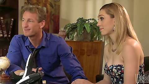 Blonde babe Lily Labeau having a bite over diner party