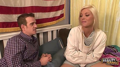 Blonde teen Shay Golden in straight jacket get fingered