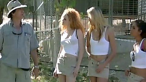 Sexy babes Audrey Hollander and Ashley Long outdoors in miniskirts