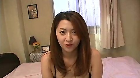 Asian sitting in her bra and panties