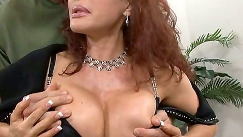 Big tits redhead milf touching tits and sucks balls with cock