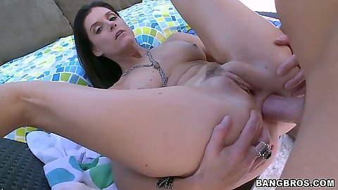 Pile driver anal sex with milf India Summer spreading her ass