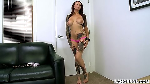Posing brunette Mila Treasure in audition sucking large dildo