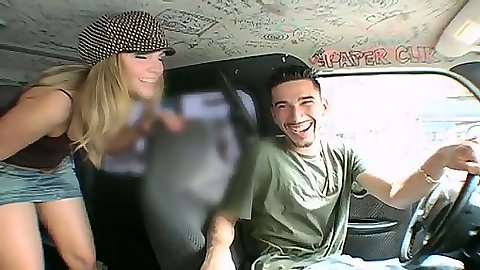 Teen amateur Amy and Brianna Love driving on the van