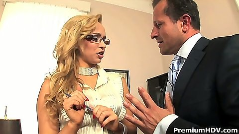 Blonde Aleska Diamond in the office sucking dues cock from pants
