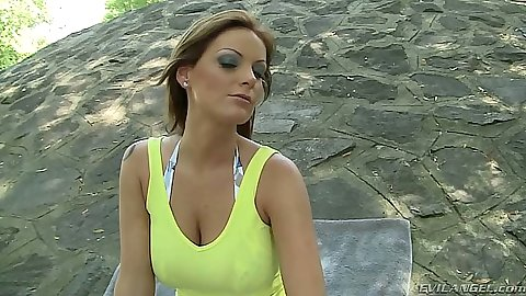 Outdoor in the public park with Sheila Grant taking off her clothes