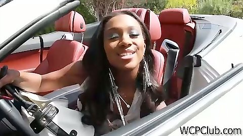 Ebony super babe Sierra Banxxx smiling from her new car and shows her panties