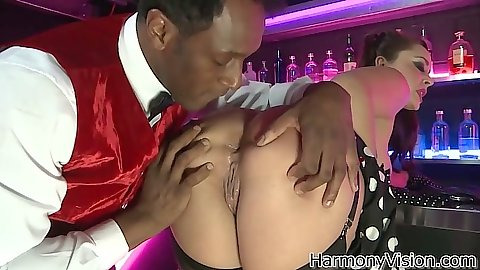 Nice ass licking with Liza Del Sierra at the bar and big dick interracial blowjob