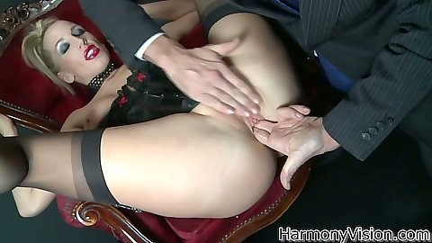 Fingering and blowjob from half dressed and wearing stockings Rebecca More