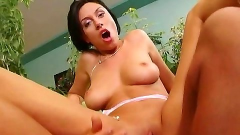 Reverse cowgirl shaved pussy and anal sex with nice big tits Mercedes
