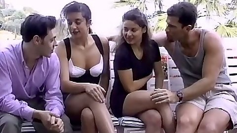 Outdoor group euro chicks Mylene and Raphaella fingered in hairy pussy