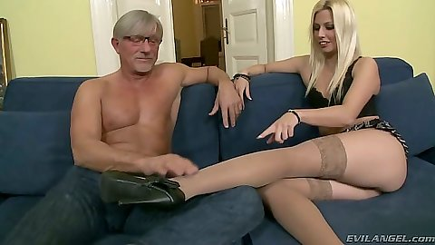 Jessie Volt wearing cute lingerie having sexy feet and a footjob