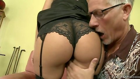 Touching and licking nice lingerie and playing with Valentina Valenti feet
