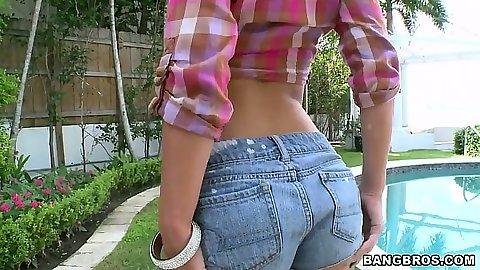 Great tight ass in petite shorts on Jada Stevens