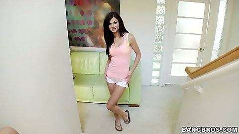 Cute young looking teen Kendall Karson pov handjob and striptease