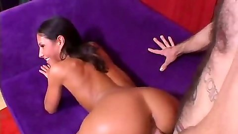 Doggy style petite sex with small tits brunette girl and legs spread