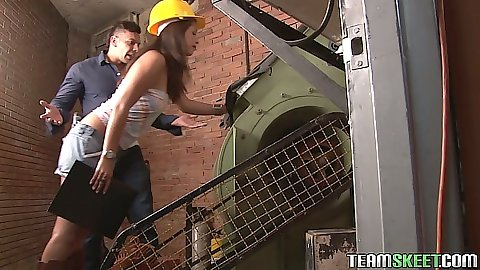 Construction site latina Laura Arce sex and undressing from tight shorts
