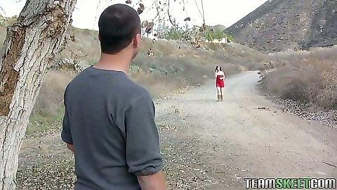 Redhead Mary Jane Mayhem talking a relaxing walk outdoors then sucks dick