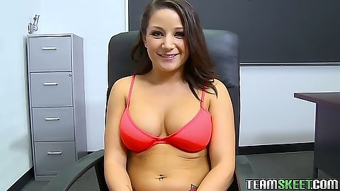 Office interview with big tits Charity Bangs sitting in her bra and panties