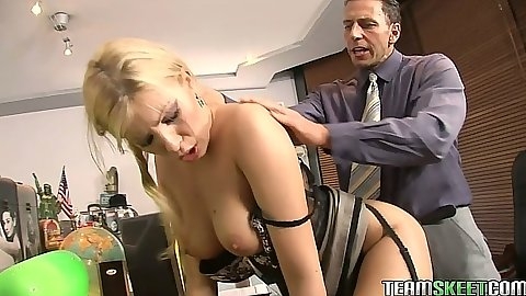 Lingerie doggy style standing fuck with Donna Bell from behind