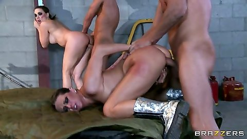Rachel RoXXX and Chanel Preston group sex with rough doggy penetration