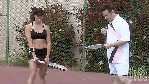 Tennis time outdoors and shower blowjob with Raquel Devine