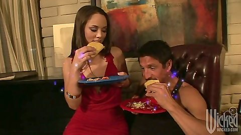 Sexy Kristina Rose eating a burrito and blowjob with licking ball sack