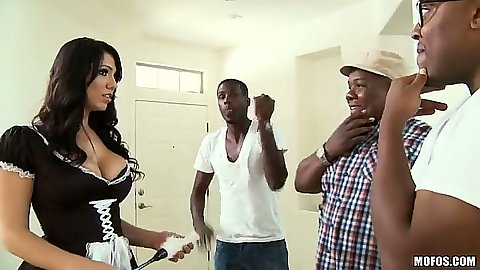 Big tits milf maid Madison Rose goes for big black cock