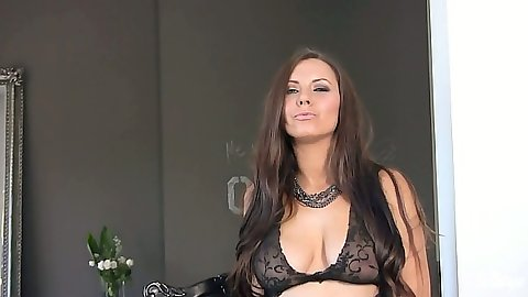 Sexy brunette Alektra Sky playing with vibrator in lingerie