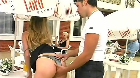 Dude reaches up Jini J skirt and into pussy in the private clut