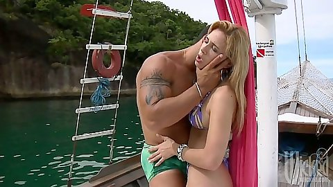 Making out with Sarah Lopez on the boat with blowjob and anal sex