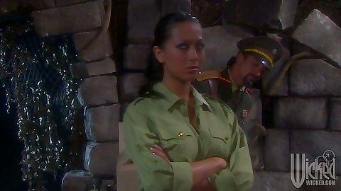 Brunette Gianna Lynn in uniform going down on military man