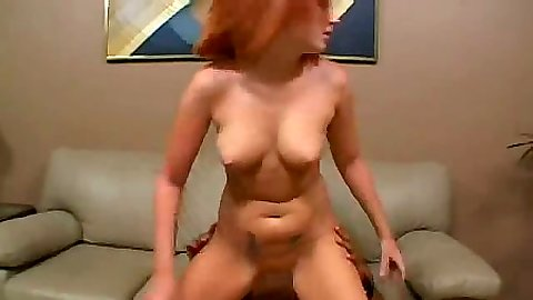Reverse cowgirl medium tits sex with doggy style on the couch