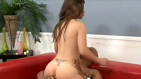 Cowgirl sex with big black cock fucking petite white pussy