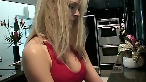 Blonde milf Katja Kean makes out with guy and gets licked on table