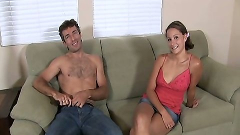 Brunette Alex Dupree having a chat and gives juicy head