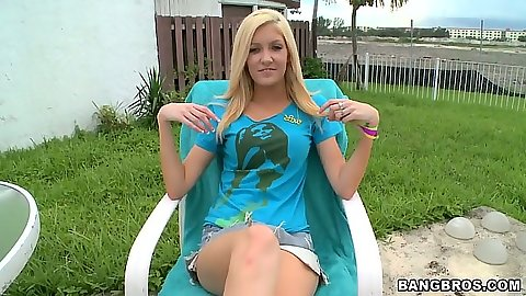 Blonde Emily Kae outdoor in bra and panties