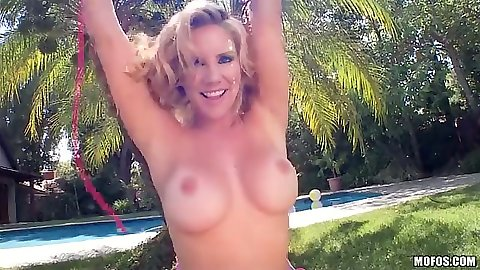 Big tits Ainsely Addison solo outdoor self fingering on the grass